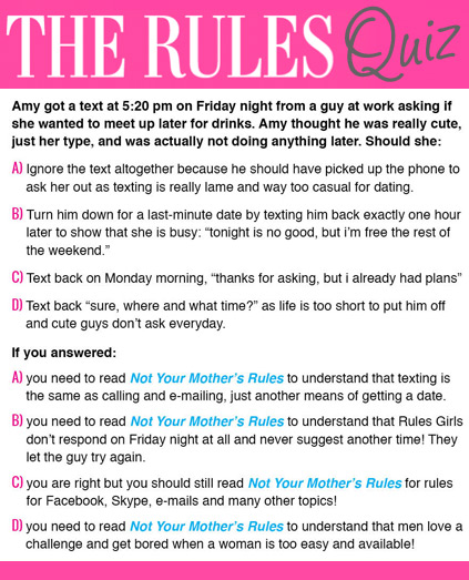 rules in dating Wd's guide to online dating click, surf and type your way to love by following these basic rules.