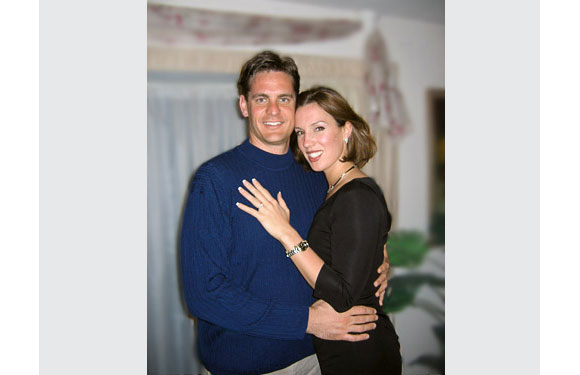"""Elaine J., married 2005 <br> """"I never would have married such an amazing, intelligent and handsome man if it were not for <i>The Rules</i>. Thank heaven for you!""""  The photo was taken the day my husband proposed to me."""